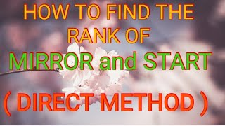 """Find the Rank of """" MIRROR """" and  """" START"""" in a dictionary ( DIRECT METHOD),  in Hindi Language"""