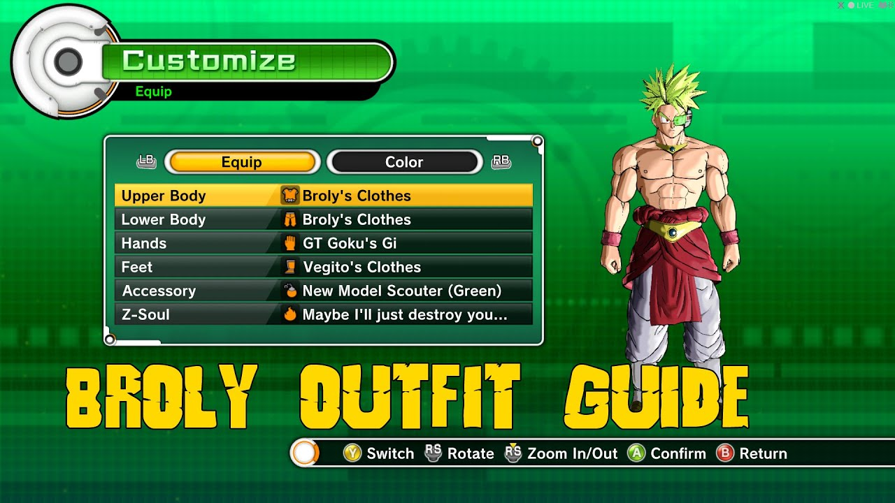 Dragonball Xenoverse Broly Clothing Guide