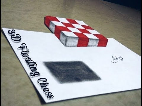 Very Easy - How To Draw 3D Floating Chess Drawing - 3D Trick Art On Paper.
