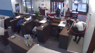 Security Guards in Los Angeles Protect a Bank From Armed Robber