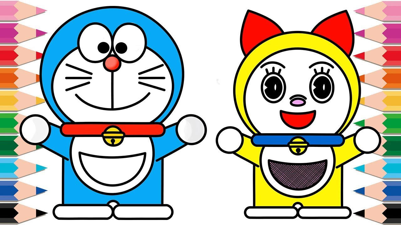 How to Draw Doraemon and Dorami Coloring Pages for Kids Learn Colors  Youtube Video for Children