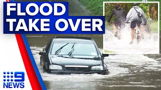 Floodwaters wash away cars in Queensland | 9 News Australia