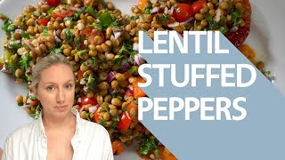 Roast Peppers Stuffed With Herbs And Lentils (vegan)