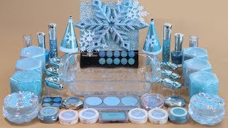 """""""One Color Series Season 7"""" Mixing ICE BLUE Makeup,More Stuff & BLUE Slime Into slime!"""