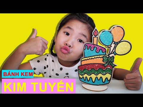 Bố Pha Màu Kim Tuyến: Tô Màu Kim Tuyến Bánh Sinh Nhật ♥ Bé Bún – Bé Bắp ♥