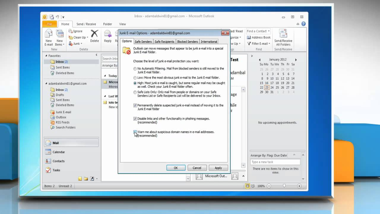 How to enable the Outlook 2010 Junk E-Mail Filter on Windows® 7
