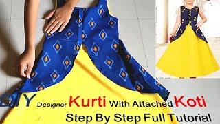 DIY Designer Attached Koti Kurti Step By Step Full Tutorial