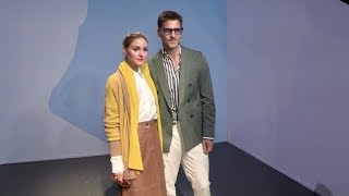 Olivia Palermo and Johannes Huebl front row for the Boss Fashion Show in Milan