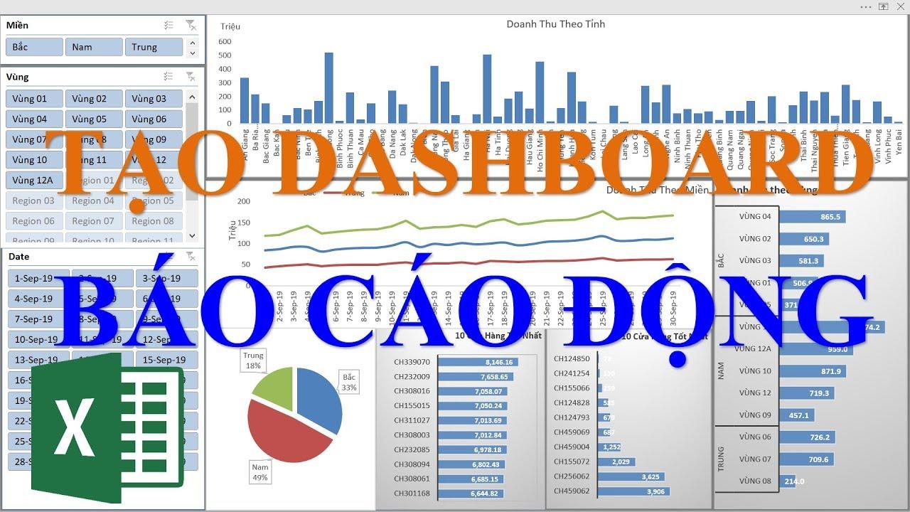 Hướng dẫn tạo báo cáo động Dashboard với Pivot Table và Slicer trong Excel