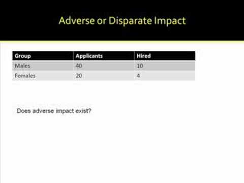 Adverse Impact And Disparate Treatment Youtube