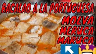 Meruca o bacalao a la portuguesa, receta tradicional,