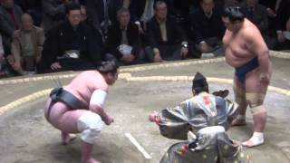 20160114大相撲初場所5日目 琴奨菊 vs 栃ノ心.