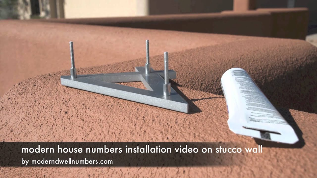 Modern House Numbers installation on stucco wall - Youube - ^