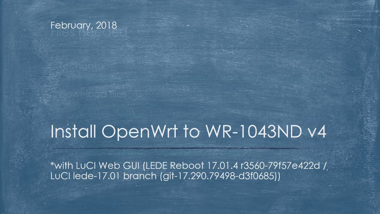 Install OpenWrt to TP-LINK WR-1043ND v4 - YouTube