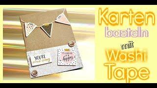 DIY ANLEITUNG Karten basteln mit Papier Washi Tape Geburtstag   9999 Dinge