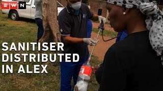 An intergovernmental response team distributed hand sanitiser at the Helen Joseph Hostel in Alexandra on Wednesday morning. The project, led by MEC for Human Settlements, Urban Planning and COGTA, Lebogang Maile, saw residents receive sanitiser in bottles.