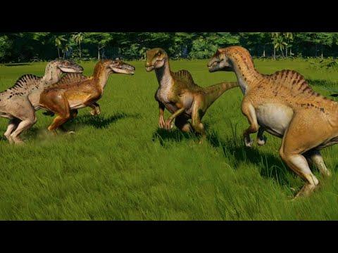Jurassic World Evolution - 5 Spinoraptor vs 2 Spinosaurus (1080p 60FPS)