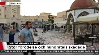 Här drabbas Kos av ett efterskalv mitt under direktsändning - Nyheterna (TV4)
