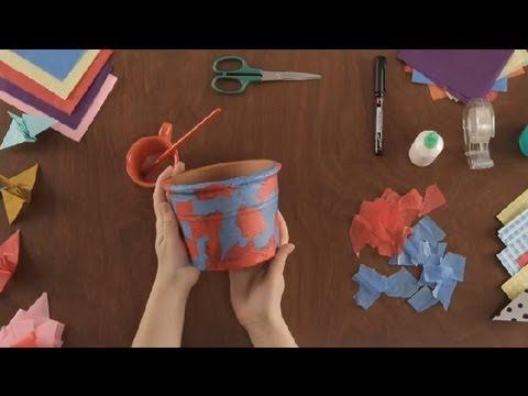 Como decorar una maceta con papel tisu proyectos de arte en papel youtube - Como decorar una lapida ...