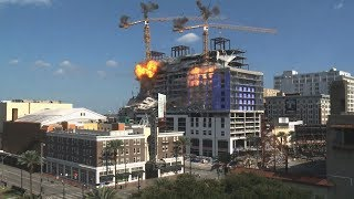 Crane implosion at Hard Rock Hotel collapse site in New Orleans: raw video