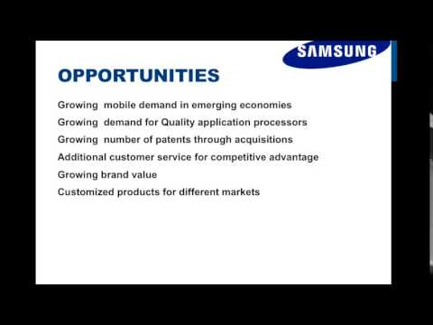 swot analysis of samsung electronics Swot analysis of samsung will elaborate the strength & weakness of, opportunities & threats for samsung company.