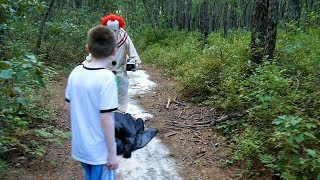 Pennywise From it Chases us in the Woods!  Scary Clown Encounter!