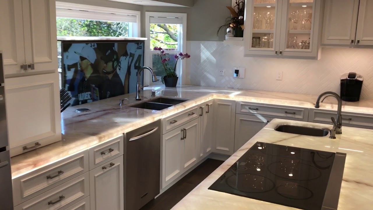 Alexa Smart Kitchen With LED Counter Tops And Popup TV
