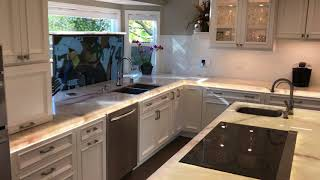 Alexa Smart kitchen with LED counter-tops and popup TV