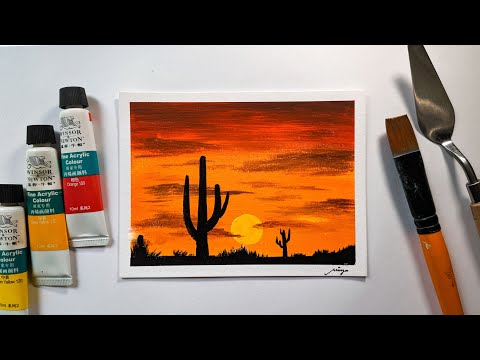 Landscape Challenge #7 – Desert Cactus Sunset / Acrylic Painting for beginners / Easy & Simple