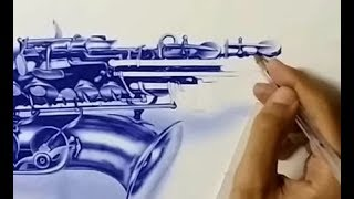 Drawing Saxophone With Ballpoint Pen