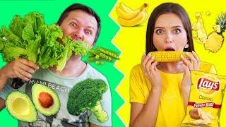 24 часа едим только жёлтую и зелёную еду! Челлендж! 🐞 Эльфинка