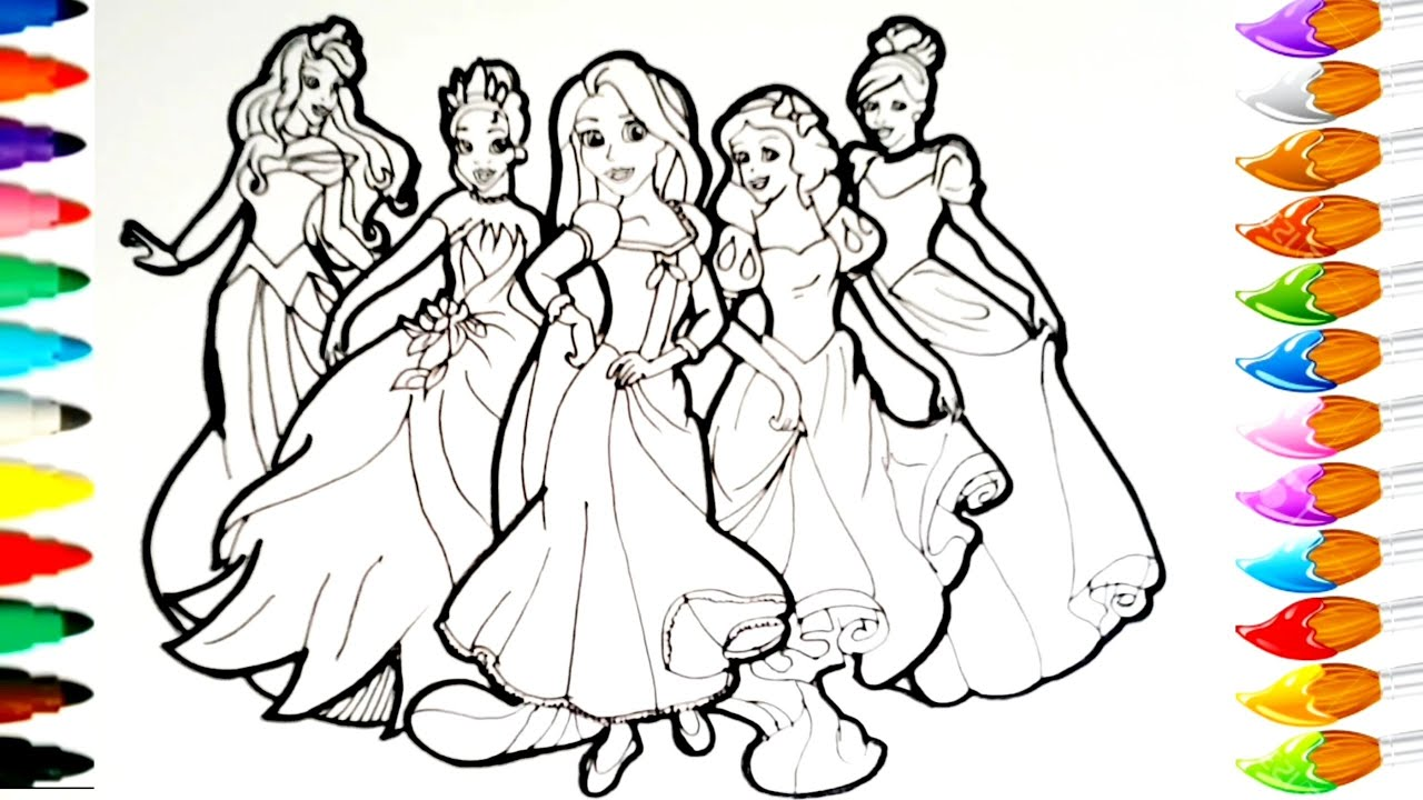 Dessiner et colorier les princesses Disney/ draw and color princess Disney  TT32
