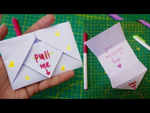 DIY SURPRISE MESSAGE CARD IN 10 MINUTES/Pull Tab Origami Envelope Card