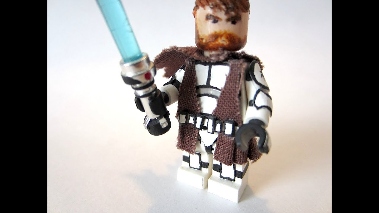 How to make a custom lego star wars obi wan kenobis battle damaged cape tutorial