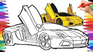 How to Draw a Car | Cars Coloring Pages | Drawing Sport cars How to Draw a Lamborghini