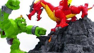 Power Rangers & Marvel Avengers Toys Pretend Play   GIANT MONSTER vs DRAGON