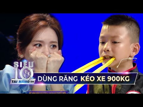 Hari Won NÍN THỞ với màn trình diễn của Siêu Nhí vận công kéo xe 900 ký bằng răng   STNN Tập 9