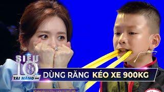 Hari Won NÍN THỞ với màn trình diễn của Siêu Nhí vận công kéo xe 900 ký bằng răng | STNN Tập 9