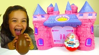 Giant Disney Princess Rapunzel Castle Surprise with Maxi Kinder eggs Fashems and Mashems