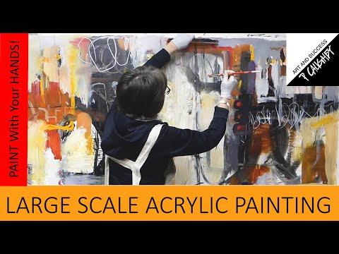 Pamela Caughey - LARGE SCALE Acrylic Painting - Using my HANDS!
