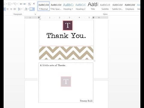 How to make double sided personalized thank you cards with MS Word