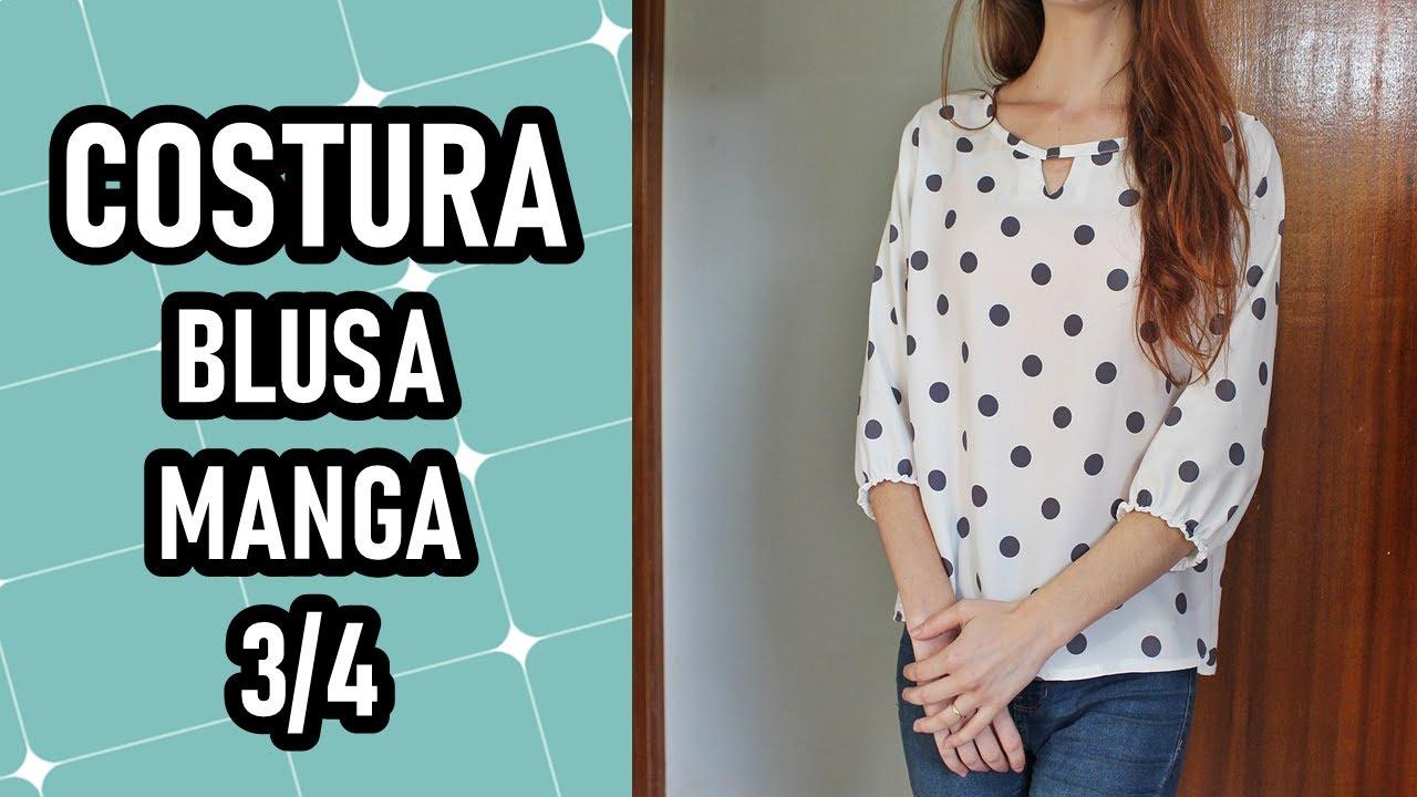 Como fazer blusa manga 3/4 | CORTE E COSTURA