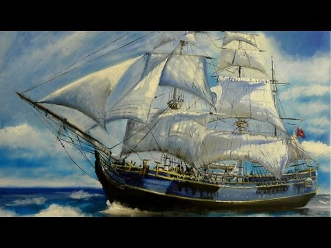 HMS Bounty Painting and Model Ship