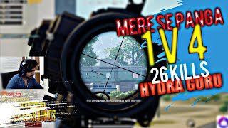 1V4 26 Kills Awesome Gameplay By Hydra Guru | Gaming Guru