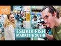 TSUKIJI FISH MARKET 築地市場 - CONVEYOR BELT SUSHI, INNER & OUTER WHOLESALE MARKETS // TOKYO VLOG