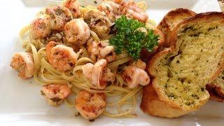 Camarones Scampi Con Pasta Linguine  Receta