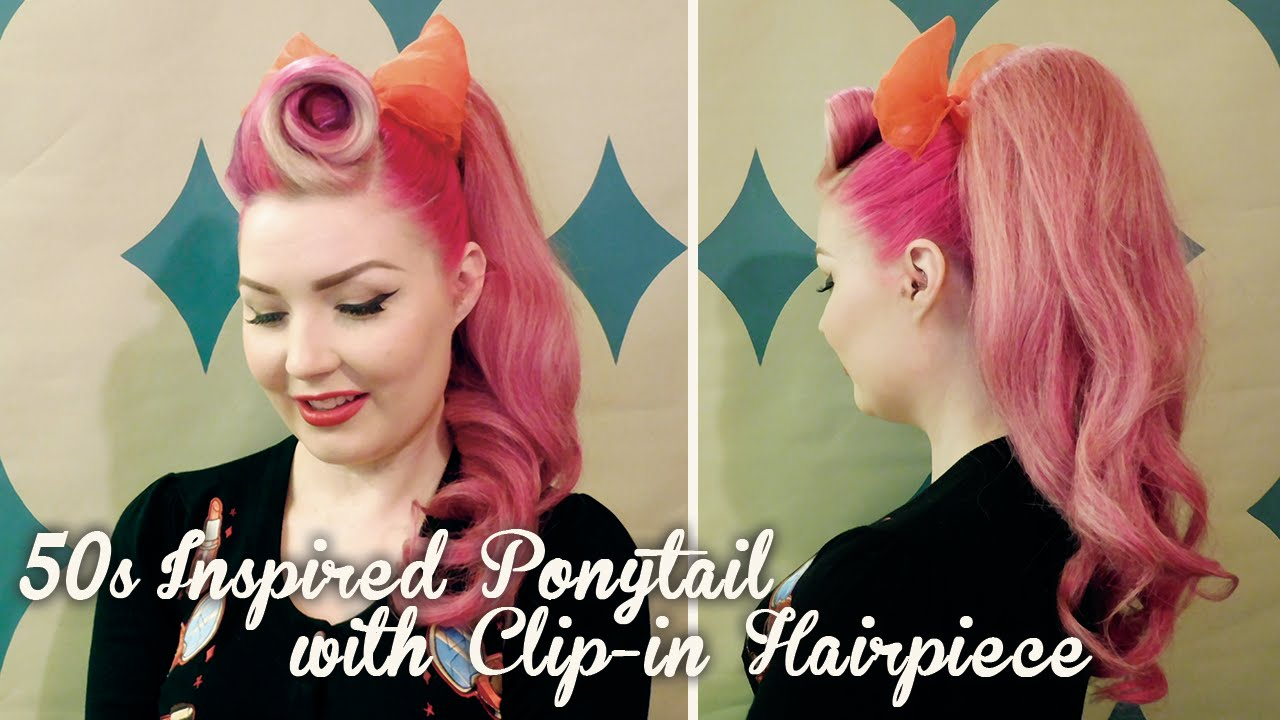 50s Vintage Inspired Ponytail Using A Clip In Hairpiece Diablo
