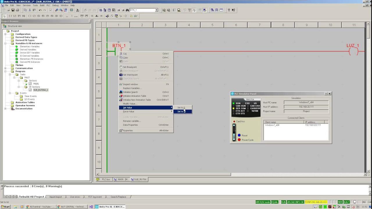 Básico 1 - Creando rutinas y subrutinas, configuración del Simulador -  Unity Pro XL V12 - M340