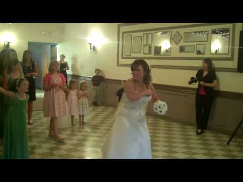 Christine Ford throwing the bouquet