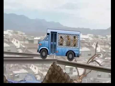 Синий полицейский автобус едет по городу и везёт плохих  парней. Мультик игра для детей